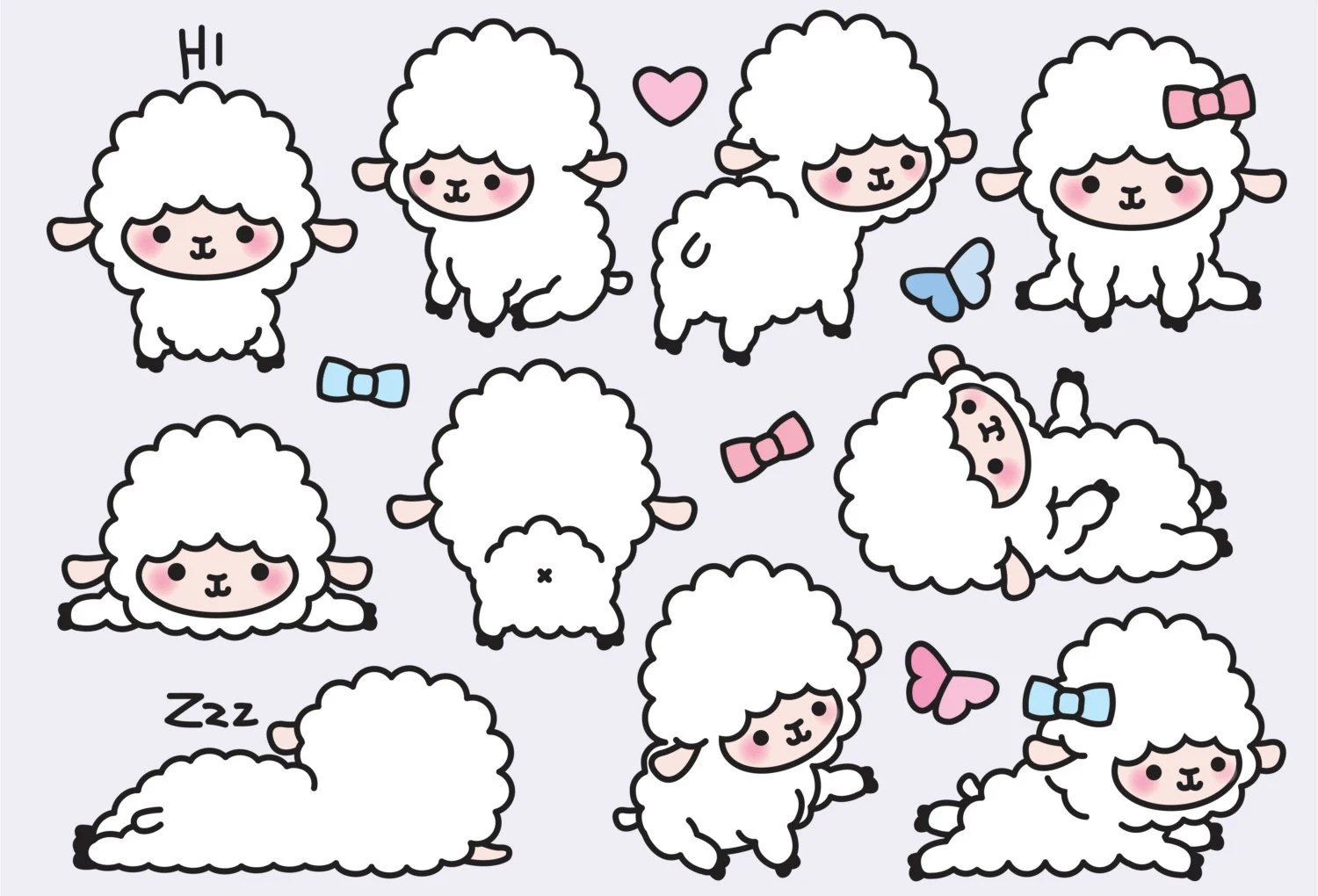 Cute Sheep Drawing Tumblr Premium Vector Clipart Kawaii Lambs Cute Lamb Clipart