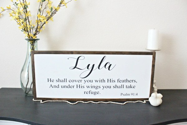 Name w/Bible Verse Wood S...