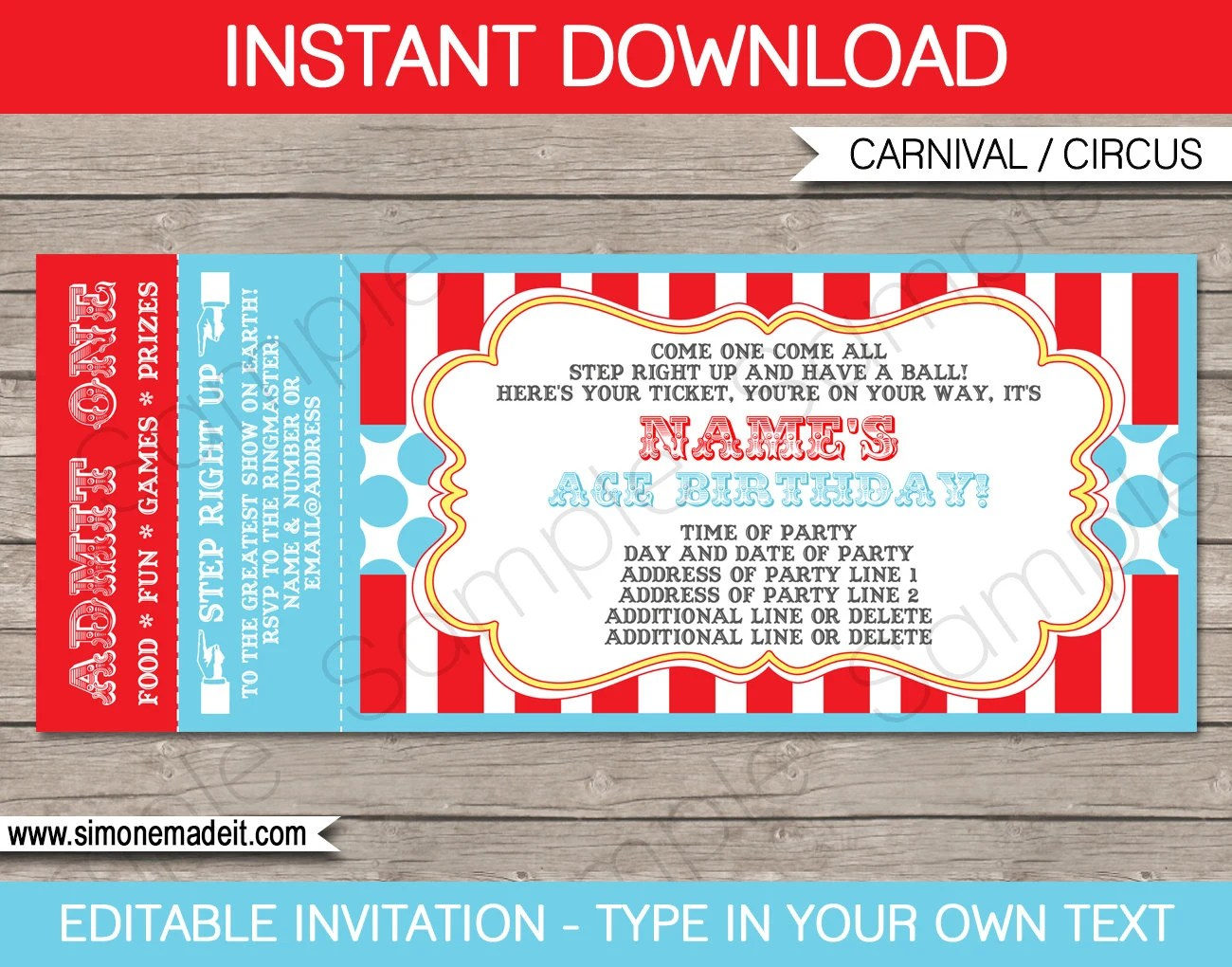 Circus Ticket Invitation Template - Carnival Party - Circus Party - Ball Ticket Template