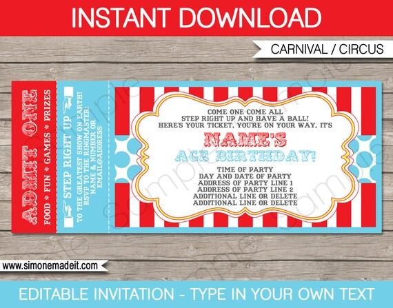 Circus Ticket Invitation Template - Carnival Party - Circus Party - Ball Ticket Template