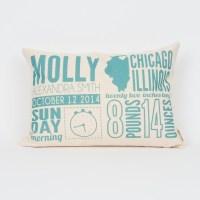 Birth Announcement Pillow Custom Pillow Baby by FinchandCotter