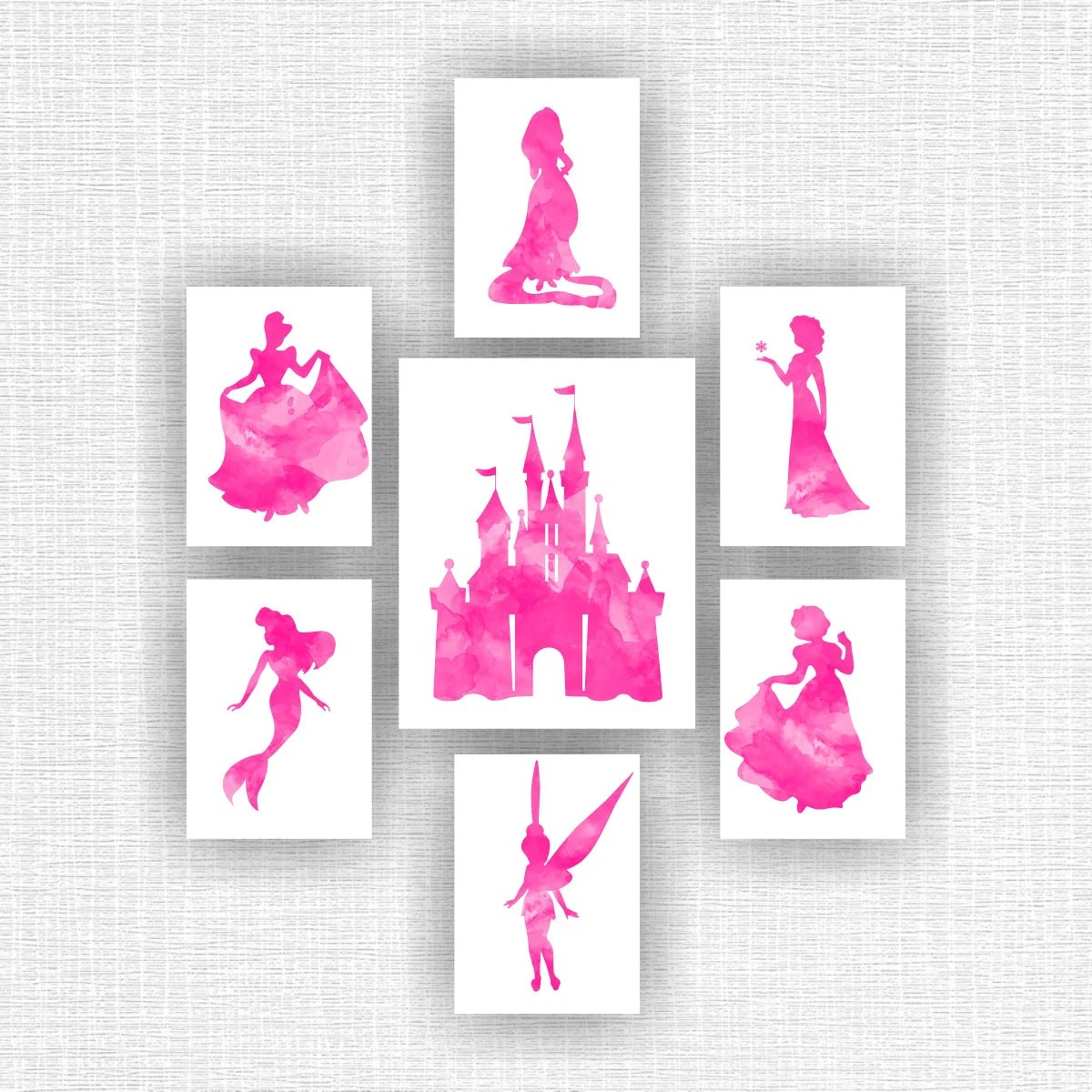 Disney Princess Wall Art Castle Watercolor by myfavoritedecor