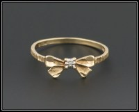 Vintage Bow Ring 10k Gold & Diamond Bow Ring Promise Ring