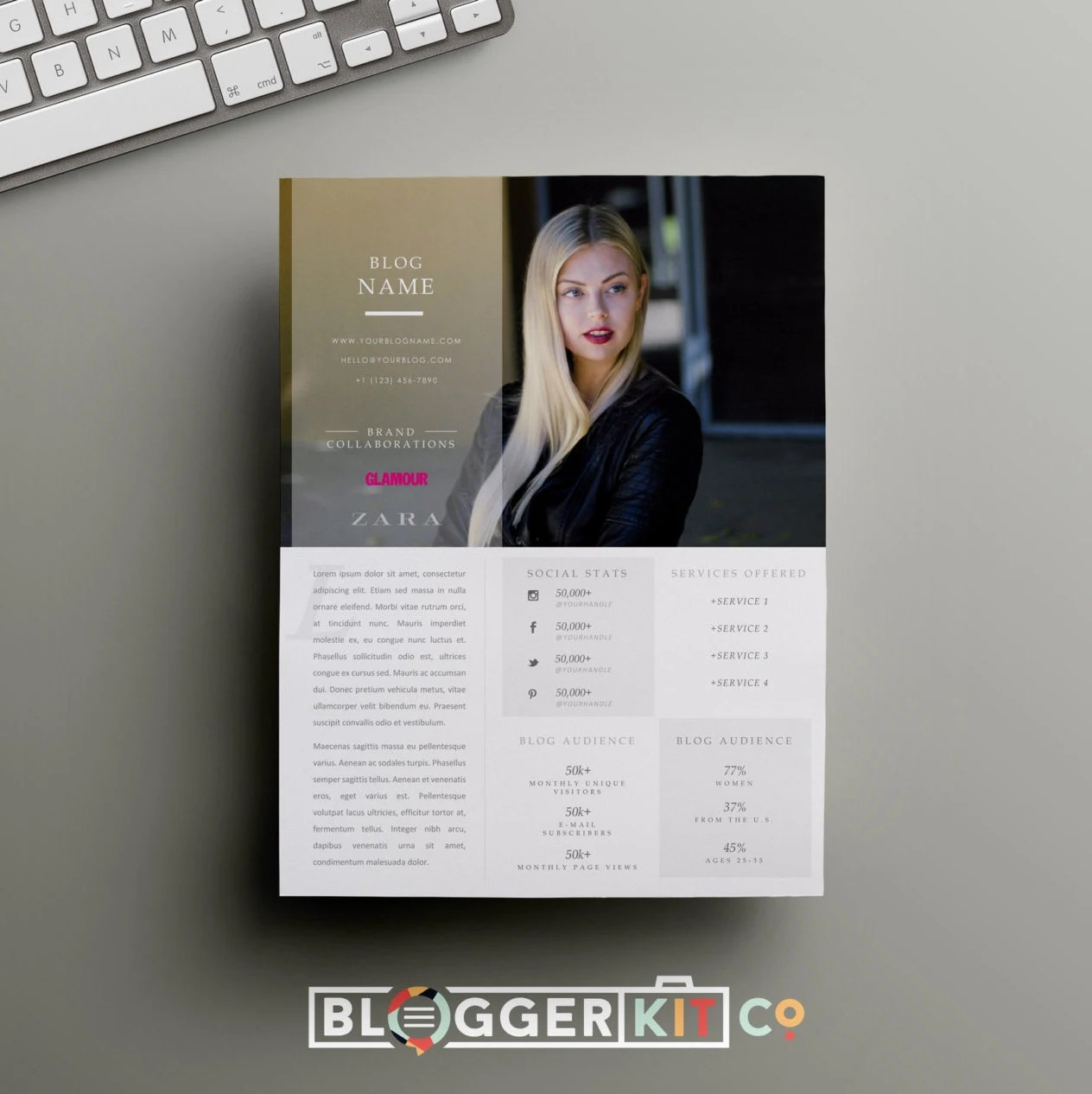 One Page Media Kit Template Press Kit Template By Bloggerkitco