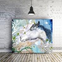Horse art canvas Teen Room decor for girls Inspirational gift