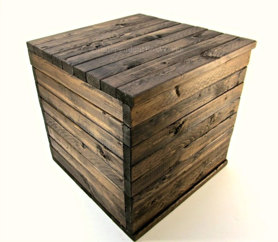 Made To Order 13 Inch Wooden Crate Rustic Cube With Lid