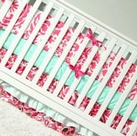 Crib Bedding for Girls Pink Mint Nursery Bedding Baby Crib
