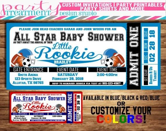 All-Star Sports Baby Shower Ticket Invitation allstar baby - ticket invitation