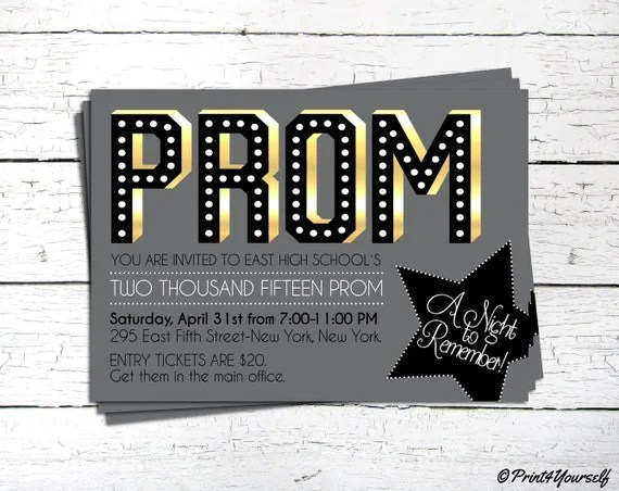 Prom Invite   Personalized Printable Prom Invitation   High School