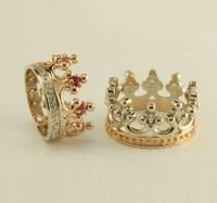 Crown two tone gold wedding ring set Royal wedding rings