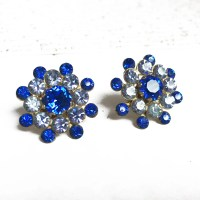 Vintage Blue Rhinestone Earrings Blue Screw Back Earrings