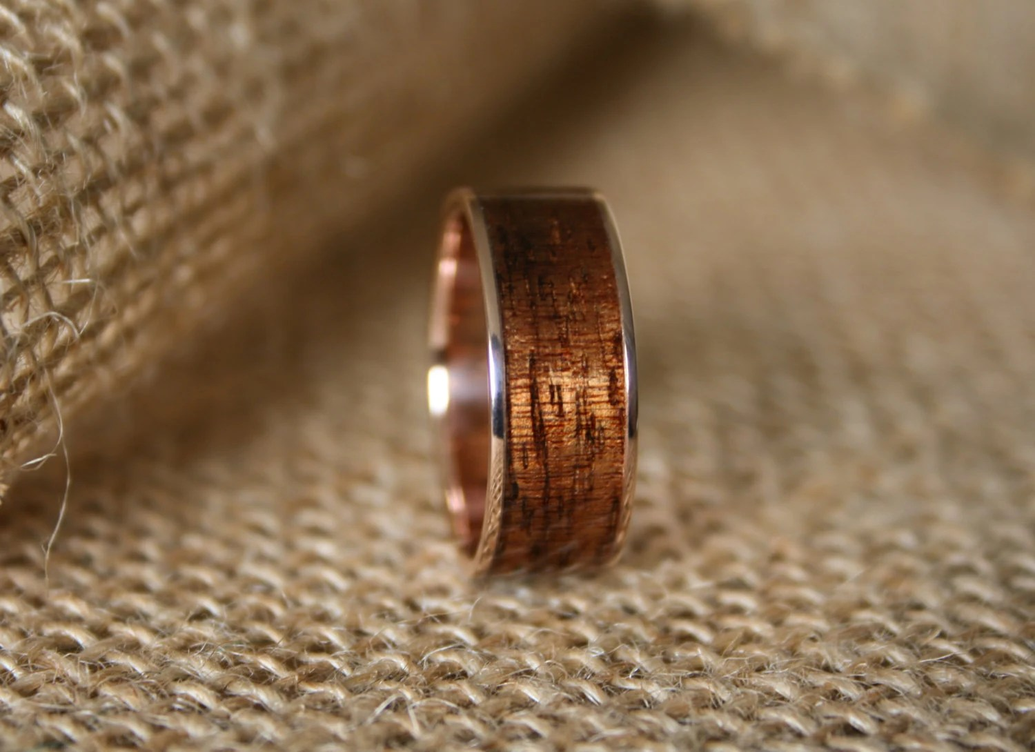 koa wood ring mens wedding rings wood Men s Wedding Band 14k Rose Gold Ring With Hawaiian Koa Wood Inlay Hand Crafted Men s Wooden Wedding Ring