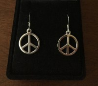 Sterling Silver Peace Sign Earrings Silver Peace Sign