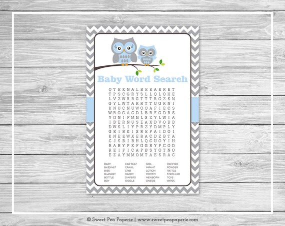 Owl Baby Shower Baby Word Search Game - Printable Baby Shower Word