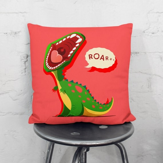 Nursery Pillow Baby Boy Dinosaur Pillow Cover By