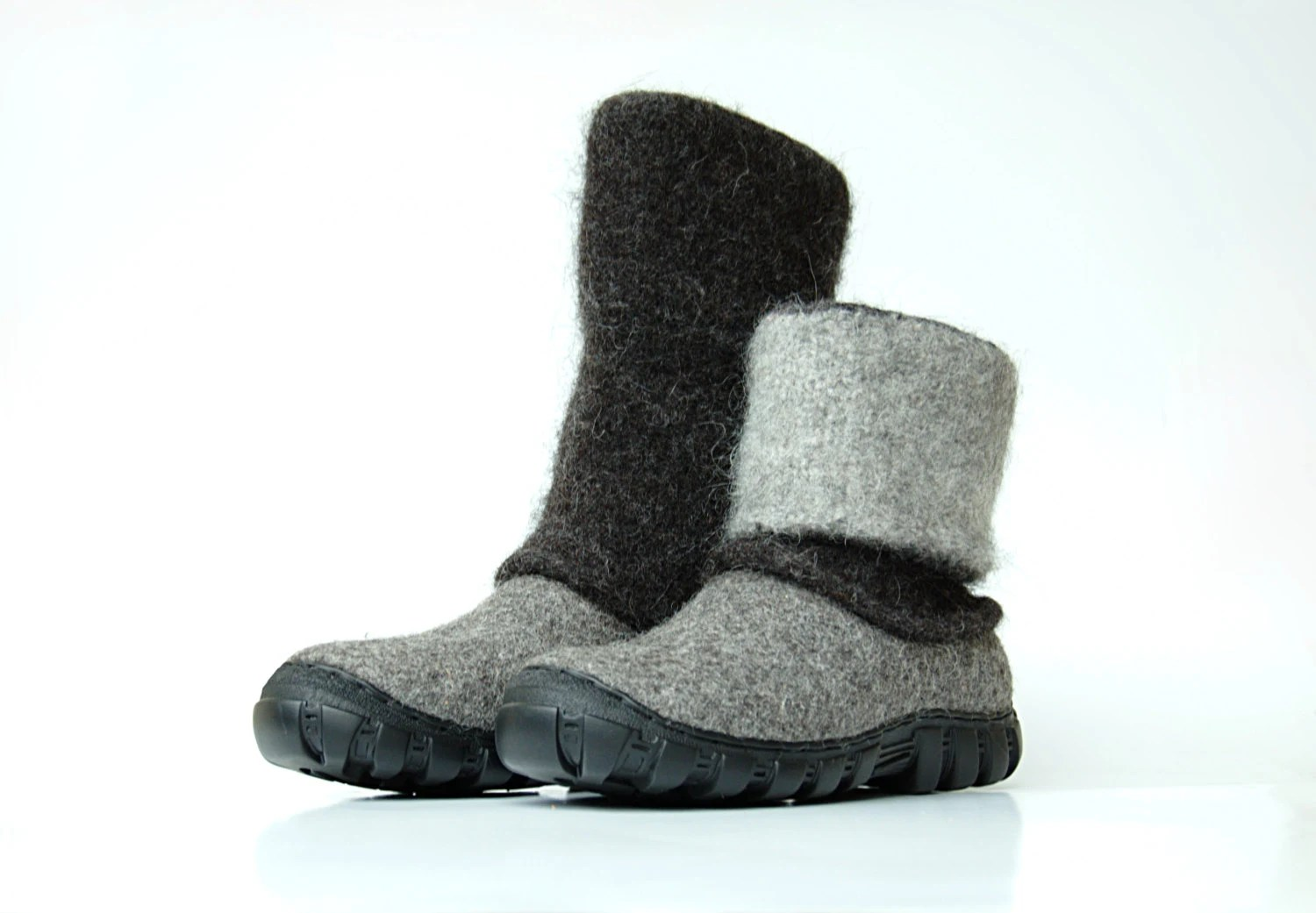 Felt Boots Natural Gray Black Rugged Soles Felted Winter
