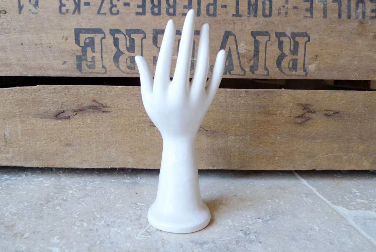 Vintage French Ceramic Hand Mold Glove Mold Soliflor Ring