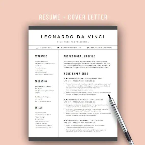 free educator resume template with icons