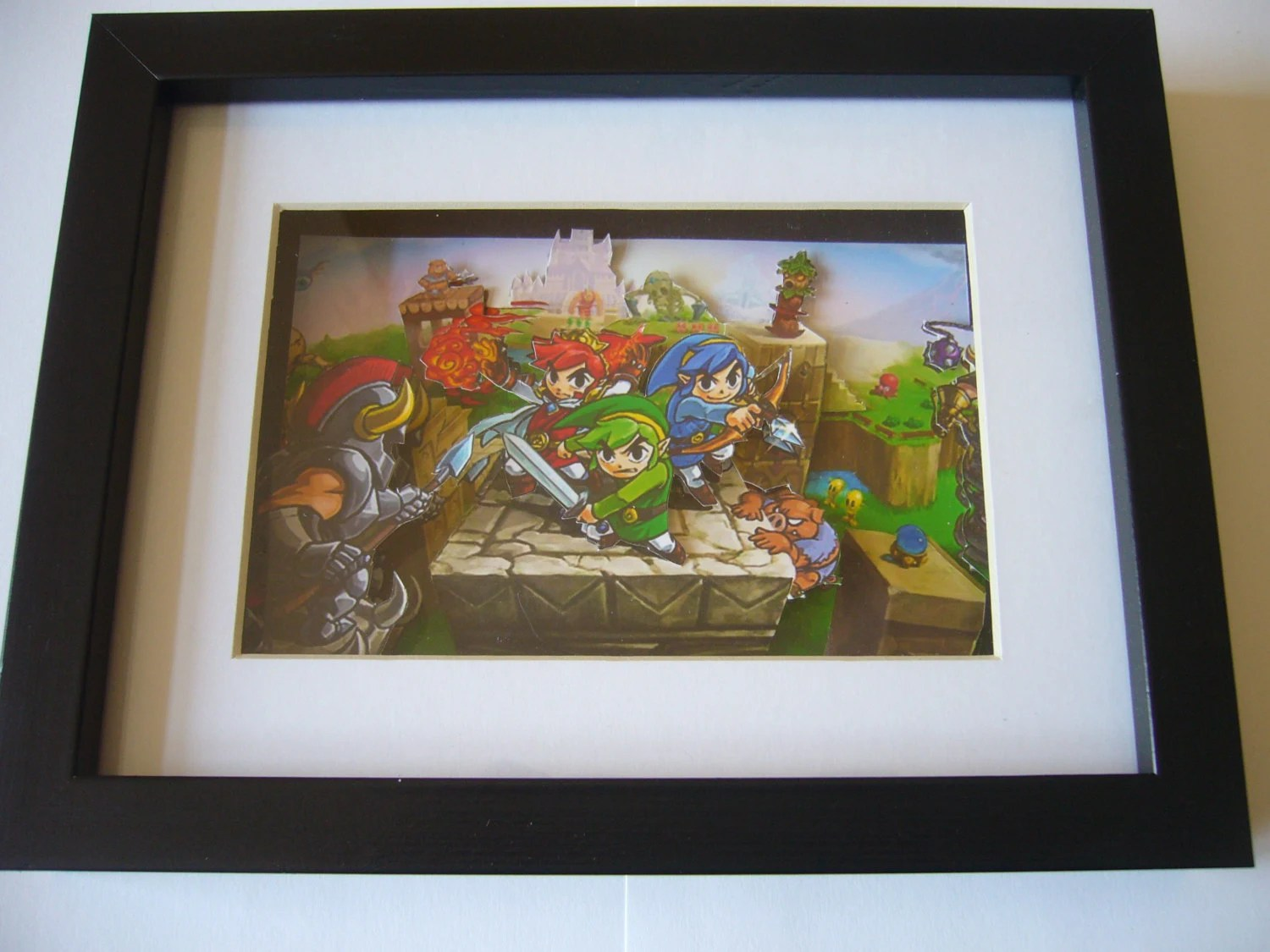 Legend Of Zelda Triforce Heroes 3d Shadow Box Diorama Art