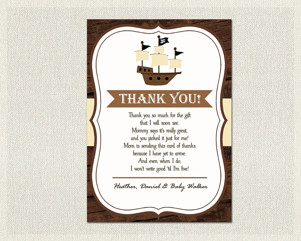 Pirate Ship Baby Shower Thank You Card Pirate Ship Brown Pirate - baby shower thank you notes