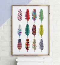 Colorful feathers Boho print Feather print by ArtPrintsFactory