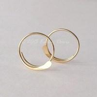 Solid Gold Open Hoop Earrings Hammered Simple 14k Gold Hoops