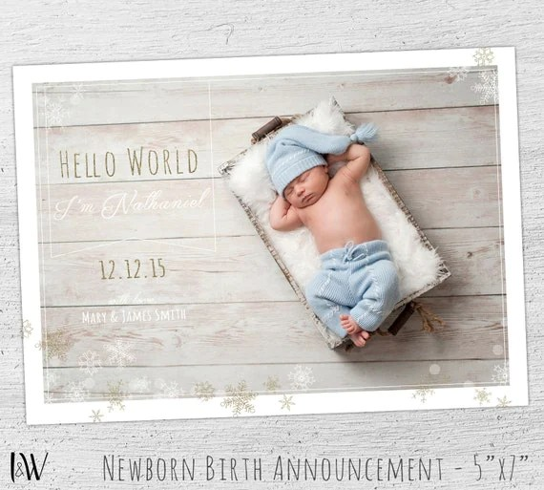 Birth Announcement Template, Baby Boy Birth Announcement, Photoshop - birth announcement template
