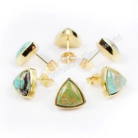 For Elise Quidley 4Pairs of Triangle Gold Plated Stud