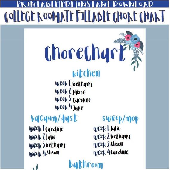 printable roommate chore chart - Vaydileeuforic