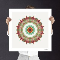 Sunflower Mandala Geometric Wall Art Fine Art Print Boho