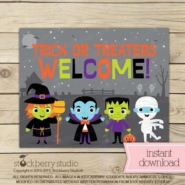 Trick or Treat Sign - Halloween Welcome Sign - Halloween Printable