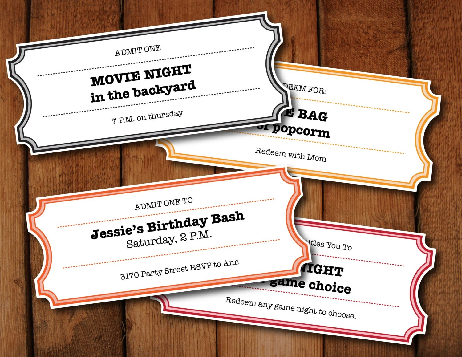 Printable Coupons \/ Tickets \/ Vouchers Movie Night Colors - create your own movie ticket