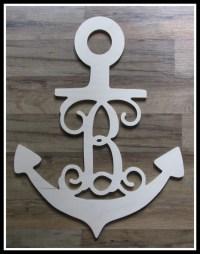 """Anchor Door Hanger with Letter - Unpainted Wood - 22"""" size ..."""