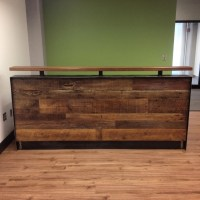 Reclaimed Wood & Steel Reception Desk