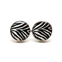 Zebra Stud Earrings Black and White Earrings Zebra Jewellery