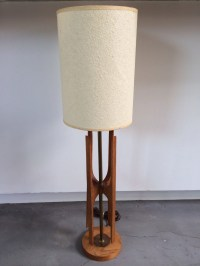 Modern Teak And Brass Narrow Table Lamp