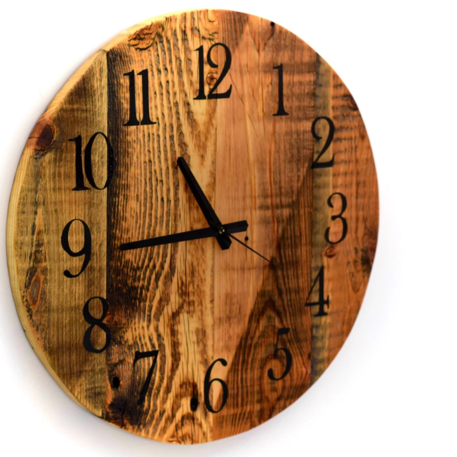 Large Wooden Clock Reclaimed Barn Wood Clock Large Round Barn Wood Wall Clock