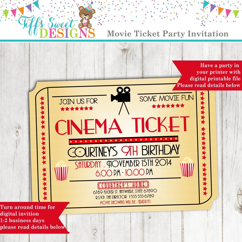 Movie Night Invitation Movie Ticket Invitation Cinema - ticket invitation