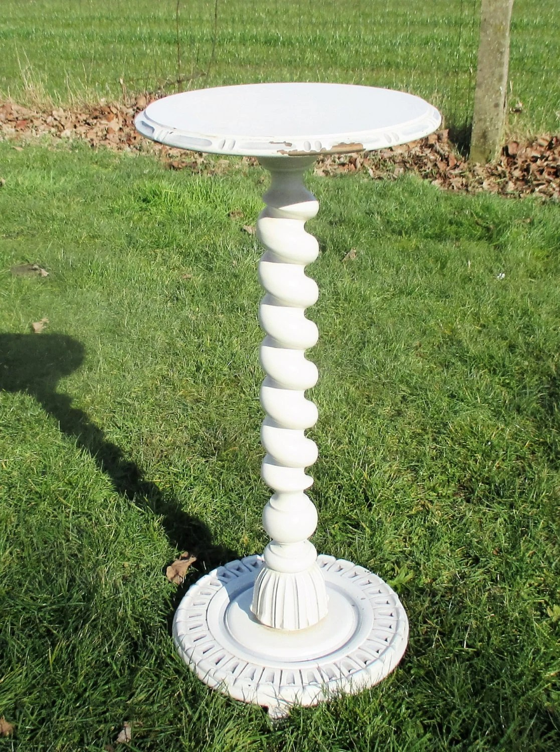 White Pedestal Plant Stands White Painted Wood Barley Twist Pedestal Display Table Plant