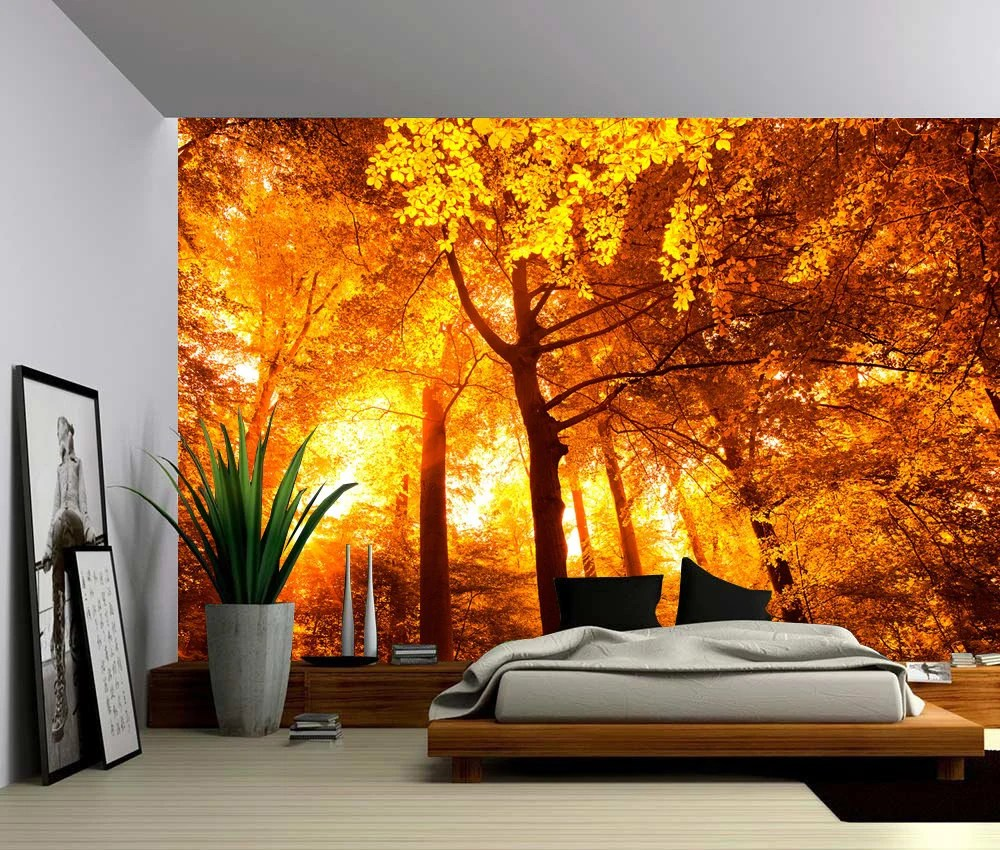 Create Own Name 3d Wallpaper Sun Tree Autumn Forest Large Wall Mural Self Adhesive Vinyl