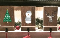 stocking holders reclaimed wood set of 4 rustic Christmas