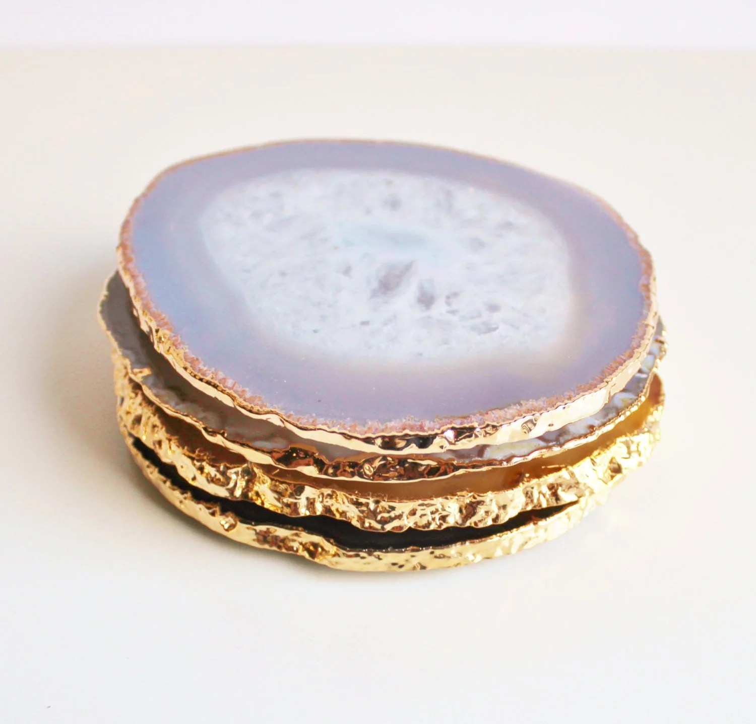 Large Coasters Agate Coasters Natural With Gold Large Brazilian Set Of 4