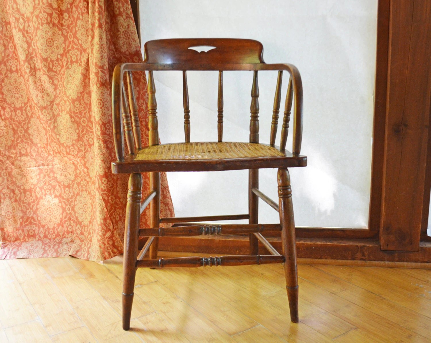 Antique Wood Chair Barrel Back Wooden Chair Small Captains