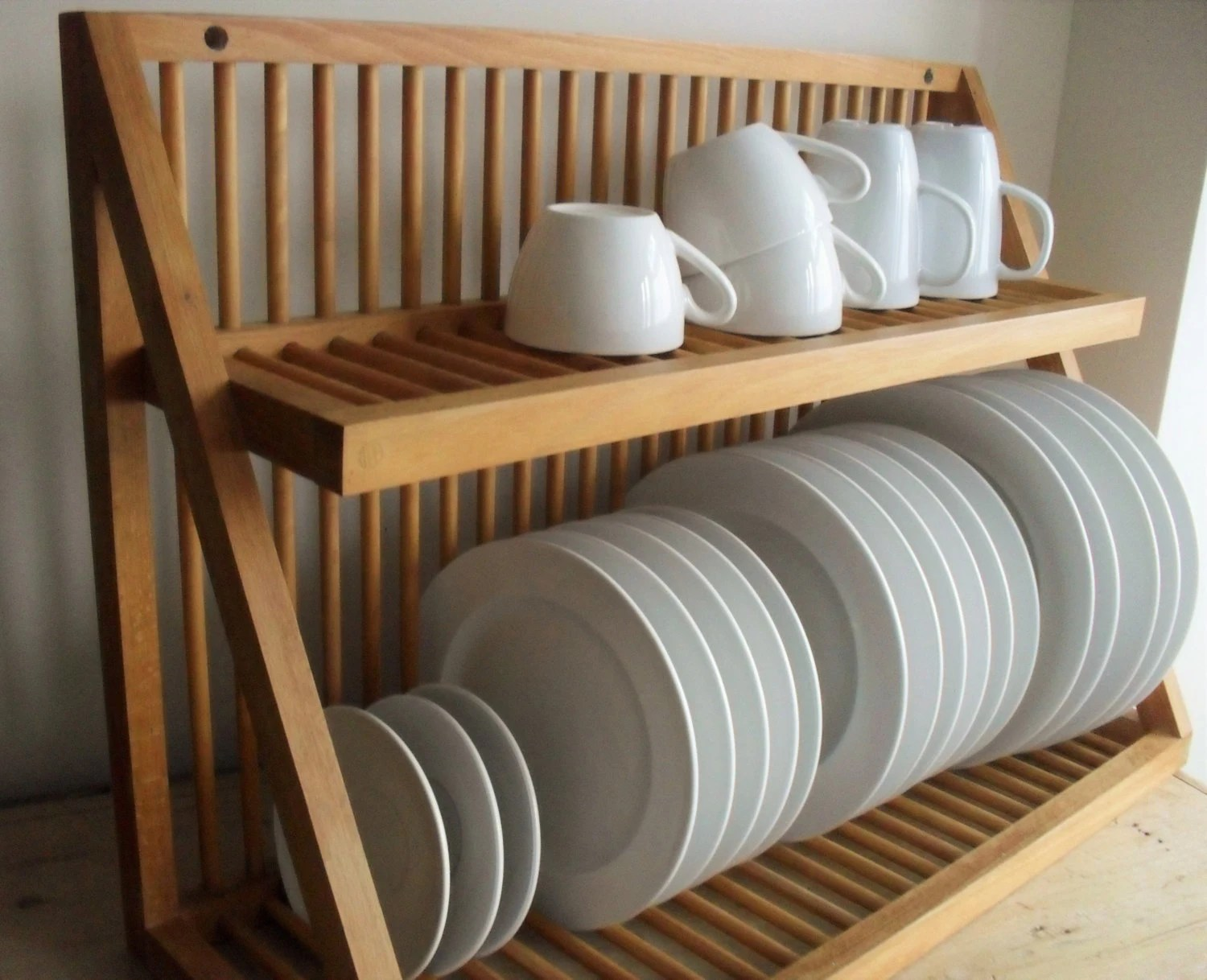Reserved For Aoak Plate Rack Vintage Wooden Plate Storage
