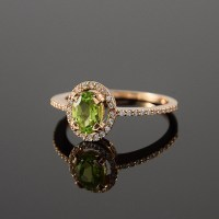 Peridot ring Gold peridot ring Promise ring Gemstone ring