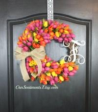 Tulip Wreath Door Wreaths Mothers Day Gift Spring