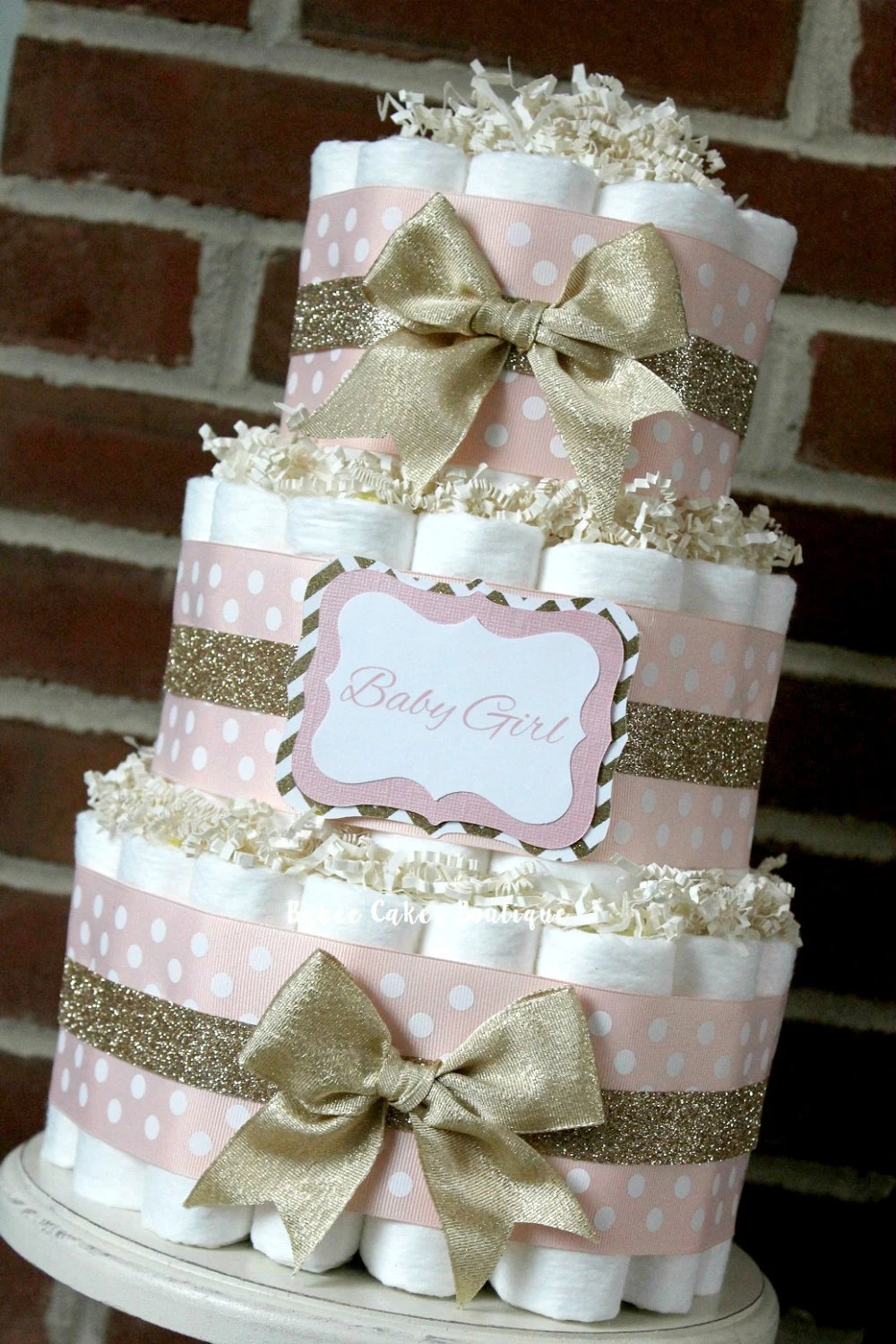 Baby Select Diapers 3 Tier Blush Pink And Champagne Gold Diaper By