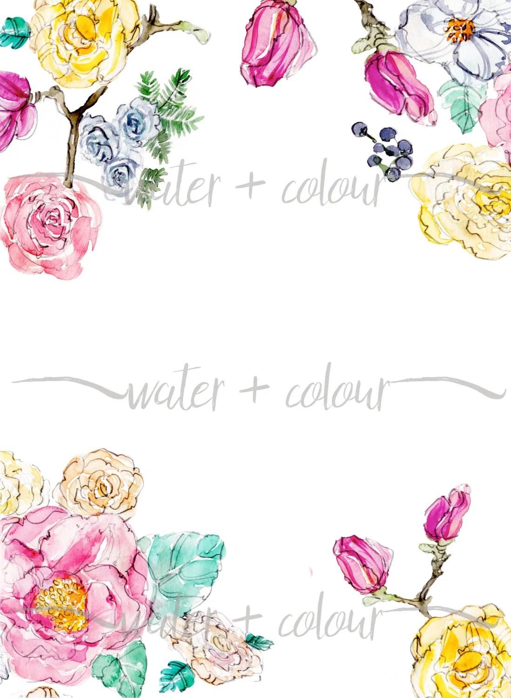 Kate Spade Fall Desktop Wallpaper Downloadable Watercolor Floral Border