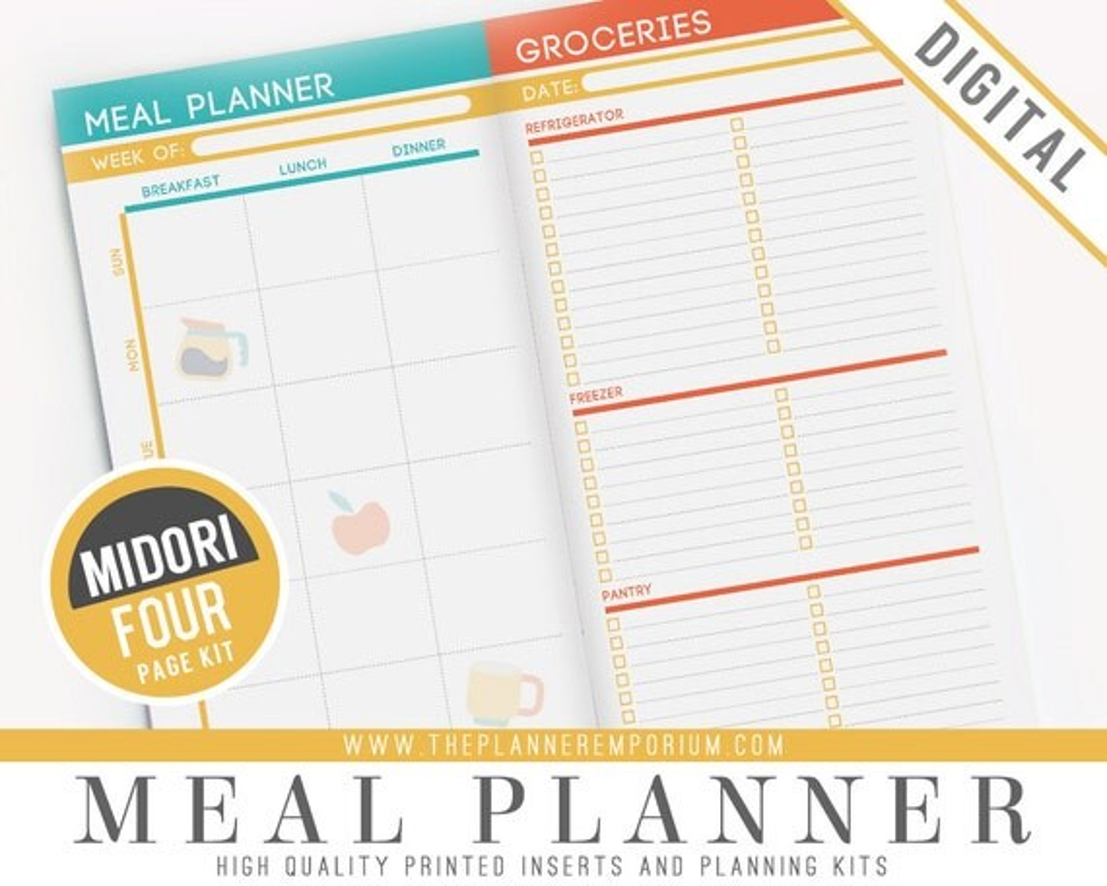 Midori Meal Planner Inserts - Fits Midori Traveler\u0027s Notebooks