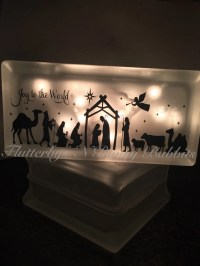 Nativity scene lighted glass block Christmas decoration night